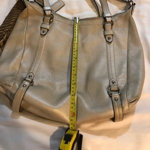 Coach purse with skinny brown scarf - cream color